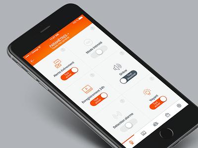 Kiwatch // Paramètres caméras ux experience ui seempl studio paris interface flatdesign feelance design mobile application app