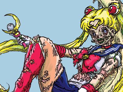 Zombie Moon sailor moon anime cartoon illustration drawing