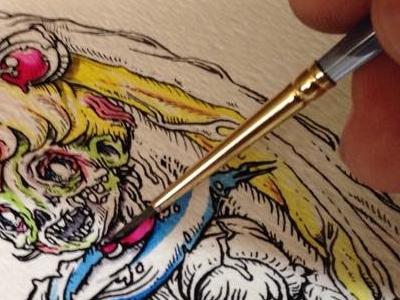 Watercoloring Zombie Sailor Moon watercolor painting illustration art sailor moon zombie