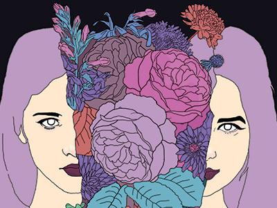 Album Art for Shayna Rain Band art band boutique blossom perennial illustration girl flowers