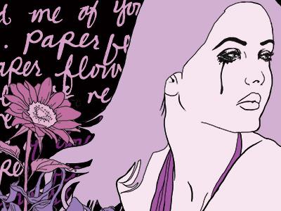 Paper Flowers Remind Me Of You illustration art girl flower flowers