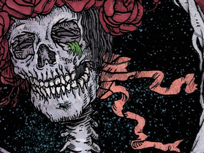 Between the Dawn and the Dark skeleton skull stealie band art bertha roses grateful dead