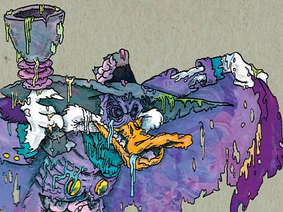 The Terror in the Night zombie albert montoya illustration photoshop horror undead darkwing duck duck