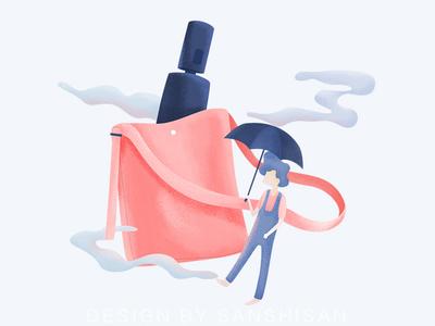 Rainy day & Love illustration
