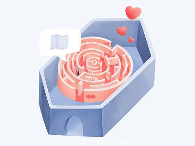 Maze & Love love illustration flat
