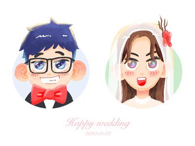 Happy wedding wedding illustration flat