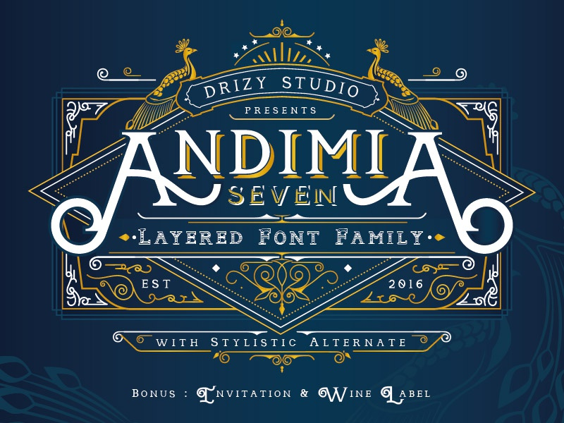Andimia Layered Fonts Family serif victorian vintage clasic layered font andimia