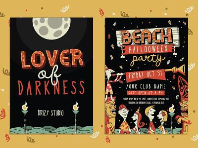 Wakiki Poster Halloween ttf otf font typography beach party party confetti night beach halloween poster wakiki