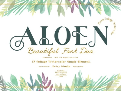 Aloen Beautiful Font Duo watercolor design font duo beautiful flower type otf logo typeface popular dribbble typography font