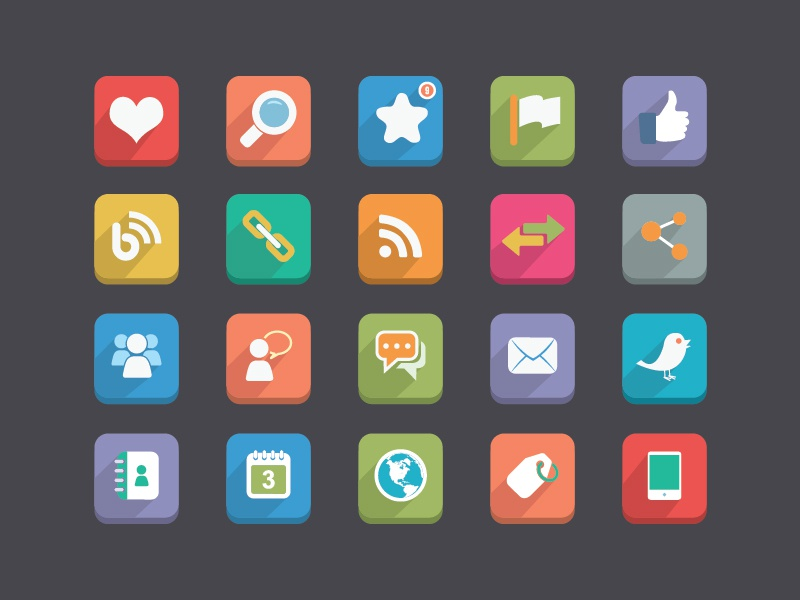 Long Shadow Flat Icons flat icons like thumbs up twitter globe agenda calendar flag share chat buttons