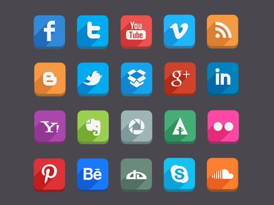 Long Shadow Social Media Icons (Psd) free vector psd dropbox social media dribble youtube twitter facebook buttons icons flat