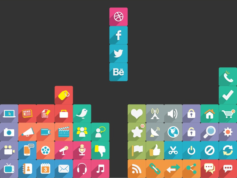 Huge Long Shadow Flat Icons Set buttons chat social media psd calendar agenda facebook twitter thumbs up free icons flat