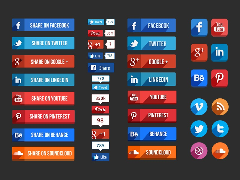Social Media Buttons login flat icons buttons facebook twitter long shadow dribble social media psd share free