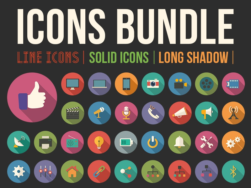 Icon Bundle flat icons free thumbs up twitter facebook line calendar psd social media long shadow stroke