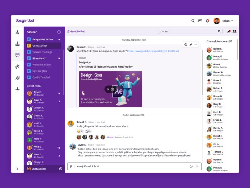 DesignGost Chat design application messenger conference system platform ux design ui design group app message dashboard chat