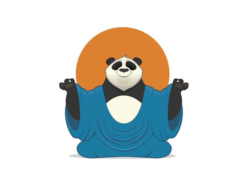 Meditation Panda panda meditation sun zen yoga vector bear buddha
