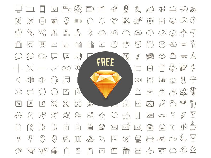 Free Sketch Icons outline icon ui icons free freebie sketch sketchapp sketch file line font