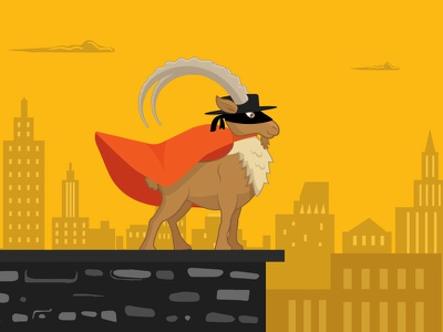 Pulley the Zorro animal character city scape urban illustration super hero zorro goat