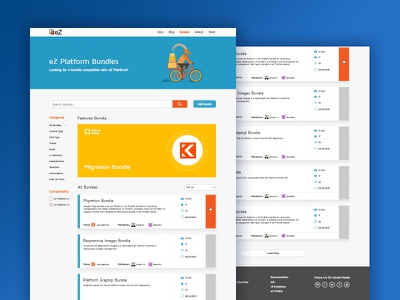 eZ Platform Bundles blue page product landing page illustration ux ui web