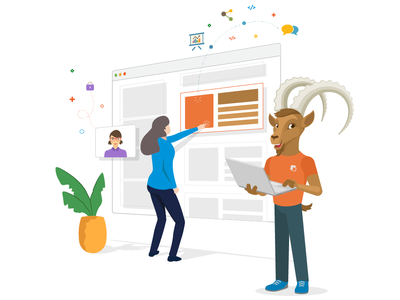 CMS Page Builder teamwork character illustration page builder cms