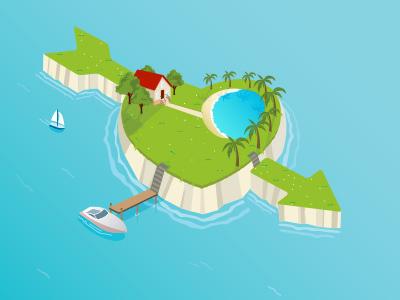 Island heart holiday island love nature ocean romance romantic shape valentine valentines day beach blue boat card concept day design dream grass greeting house land palm paradise pool scene sea jet ski tree