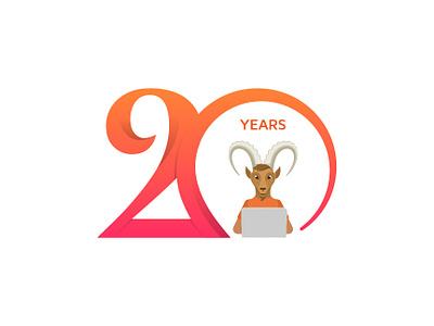 20th-Anniversary Logo 20th typography type years twenty logo lettering branding anniversary