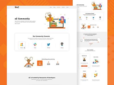 eZ Community landing page developers design branding flat website icons illustration community