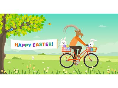 Happy Easter happy easter landscape spring illustration bunny easter bunny easter
