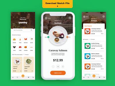 Food App icons app cards design ecommerce food app interface ios shop store restaurant ui ux