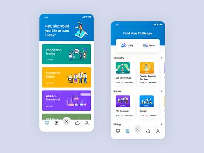 Mobile app - Lessons and challenges illustration clean education app branding courses app mobile ux ui design app