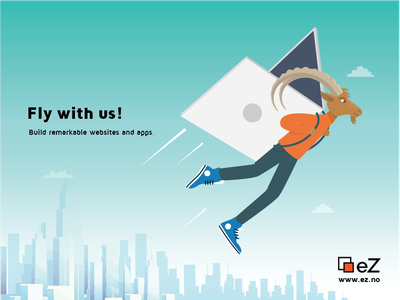 Fly with us! airplane flying cityscape illustration adobe illustrator ibex goat idea concept flat advertisement