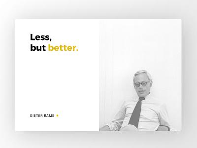 Less, but better. digital web ui rams dieter card clean minimal simple design