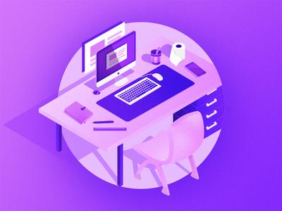 办公桌小插画