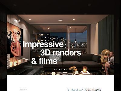 Mint Studios landing page interior home high-fidelity ux ui films film website dark black 3d artist 3d art isometric c4d 3dsmax render 3d landing page web landing