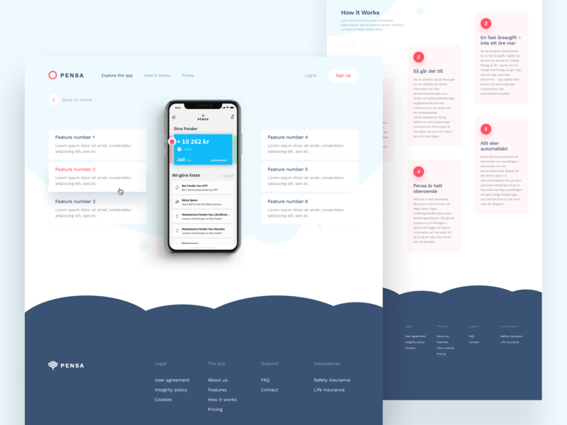 Features — Pensa's inner page design minimalist ui white web shapes shape red pension minimalism minimal iphone clear bubbles bubble blue app landing landing page