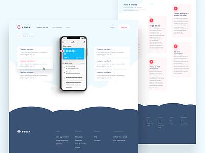 Features — Pensa's inner page design minimalist ui white web shapes shape red pension minimalism minimal iphone clear bubbles bubble blue app landing landing page