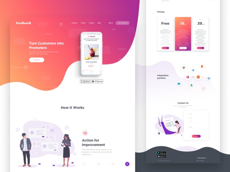 FeedbacQ — Landing page gradient red illustration design minimalism iphone landing page landing clear app