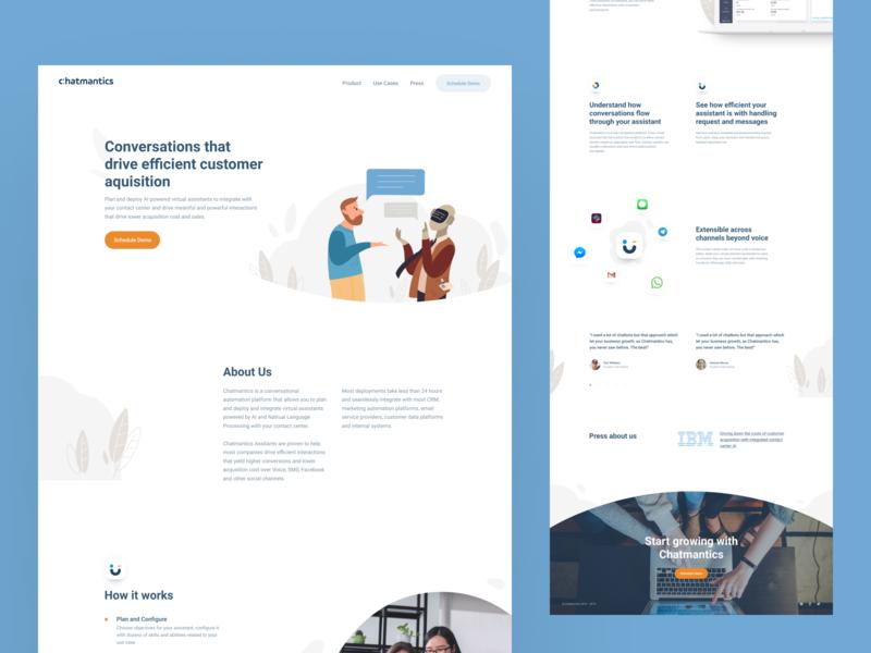 Chatmantics — Landing page design chatbot bot illustraion shape blue light clear minimalism landing page landing