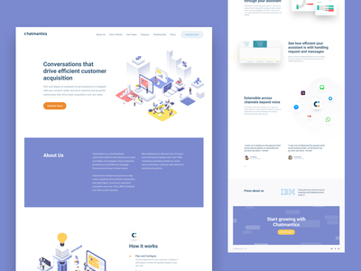 Chatmantics (concept #2) — Landing page light minimal illustration shape design blue minimalism landing page landing clear