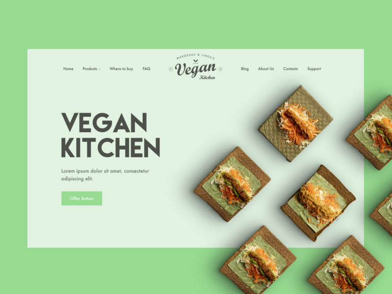 Vegan Kitchen — Landing page food and drink shop tasty light green vegan kitchen vegan food landing page landing clear