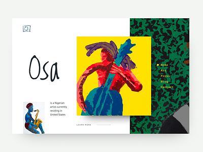 Portfolio website for Osa artist gallery masterpiece pctures green yellow artwork portfolio artist webdesig website web