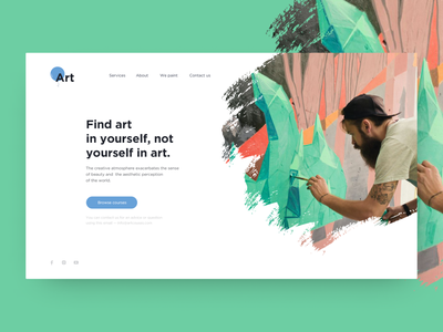 Art academy web page green draw art webdesign web minimalism landing page landing clear
