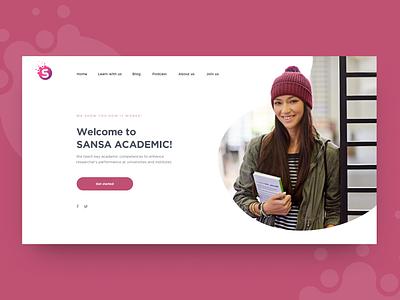 Sansa Academic learn personal shape light minimalism design landing page landing pink science academic webdesign web purple