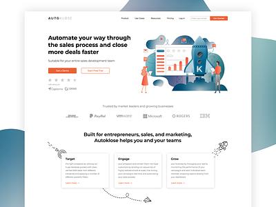 Autoklose website redesign web simple brand illustration company modern creative ux ui design
