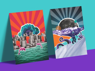 Collage style Posters branding vector creative collage art poster illustration design