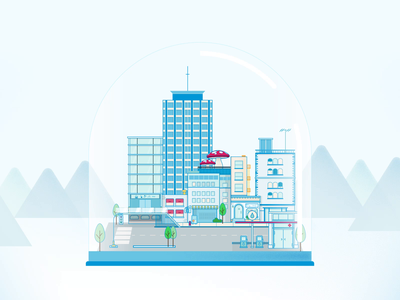 Crystal City after effects design vector animation 2d