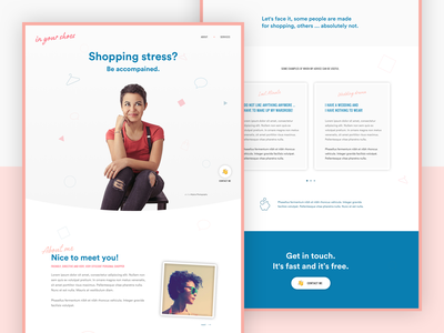 Personal Shopper landing page concept personal page pink colorful landing fashion shopping landing page