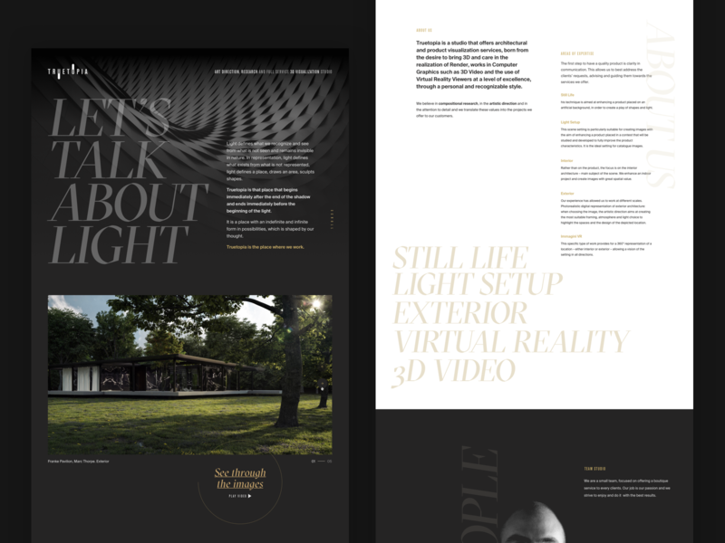 Truetopia 01 website light gold black  white design typography gt sectra about page webdesign shadow
