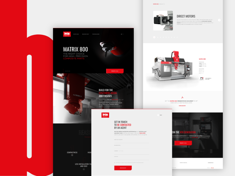 Industrial machine microsite - desktop screens industry red webdesign dark machinery microsite landing page