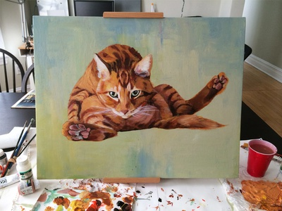 Large Cat Painting